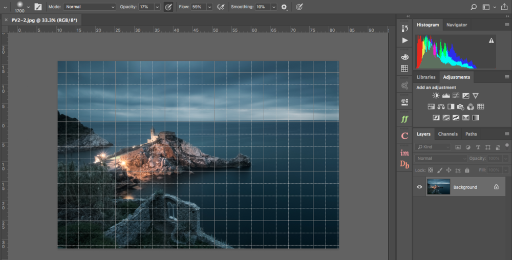 View>Show>Grid will show you the grid in Photoshop, which is always helpful if you want to double check your horizon.