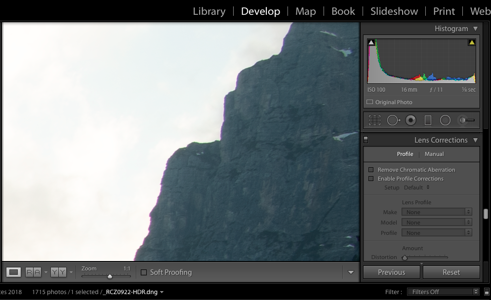 Clearly some magenta chromatic aberrations here for this mountain edge.