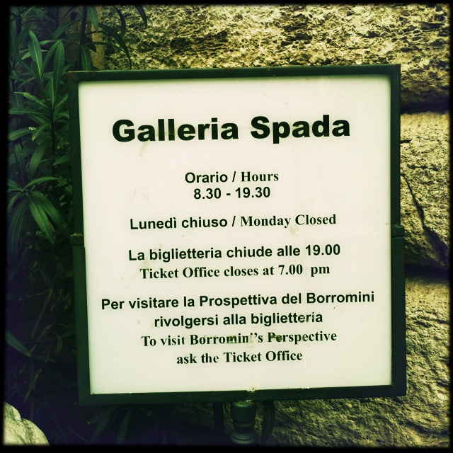 Artemisia Gentileschi's only painting in ROMA is in the:   SPADA GALLERY in ROME Galleria Spada  Piazza Capodiferro, 13  Wednesday – Monday 8.30am – 7.30pm  Entry fee: €5    galleriaspada.beniculturali.it