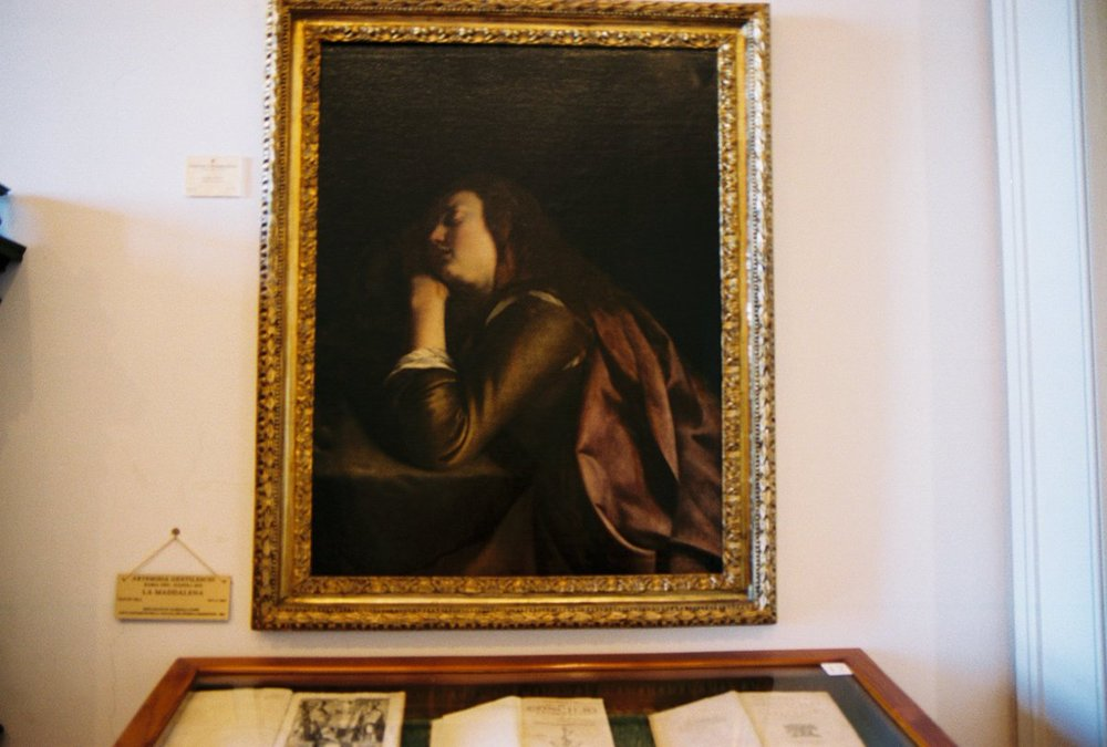 My film shot of Artemisia Gentileschi's sole painting in Sorrento, Italy at the Museo Correale di Terranova... the Maddalena Penitente, Opera di Gentileschi.   Via Correale 50, 80067, Sorrento, Italy.    http://www.museocorreale.it