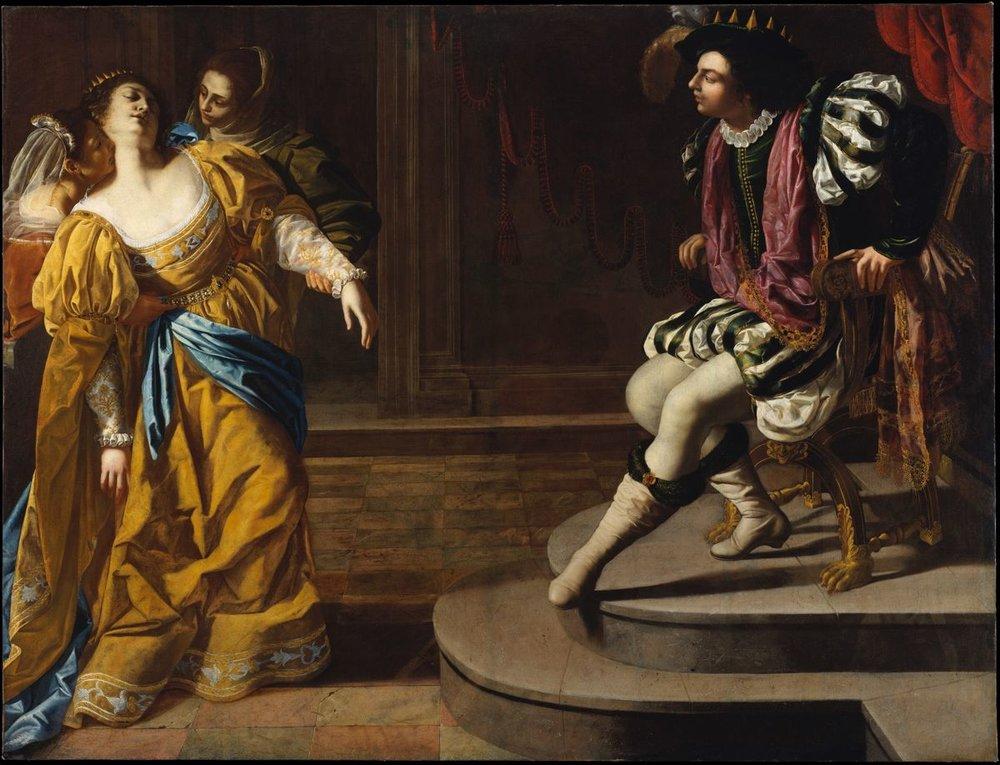 Esther before Ahasuerus   https://www.metmuseum.org/art/collection/search/436453    Artist: Artemisia Gentileschi (Italian, born Rome 1593 – died Naples 1654 or later) Medium: Oil on canvas