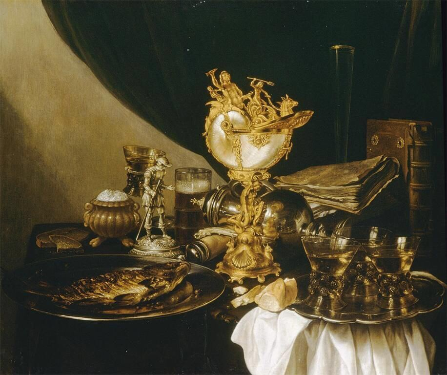 Pieter Claesz, Still Life with a Nautilus Cup, 17th century,  Dutch Golden Age