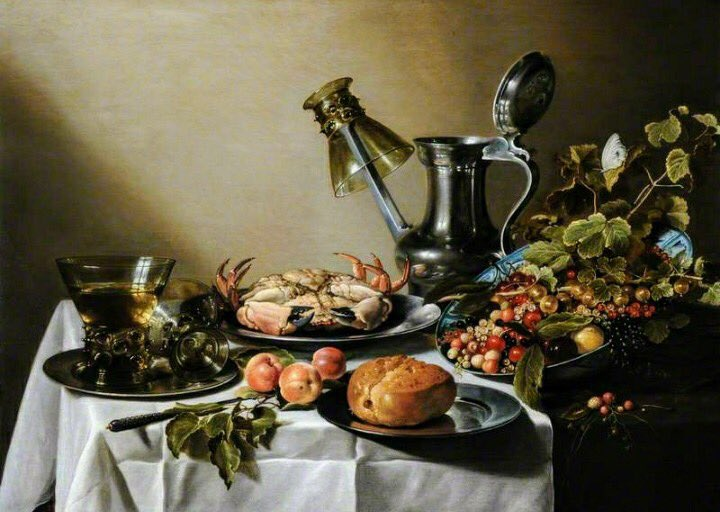 "Pieter Claesz (1597-1660) ""Still Life. Food, Glasses and a Jug on a Table"" (1640)  Dutch Golden Age"