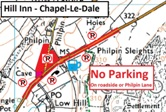 Click image above to open map showing parking restrictions at Hill Inn, Chapel-le-Dale
