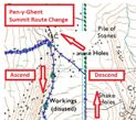 Click image above to open map of Pen-y-Ghent Summit Ascent and Descent Route Change at 1:25000 scale