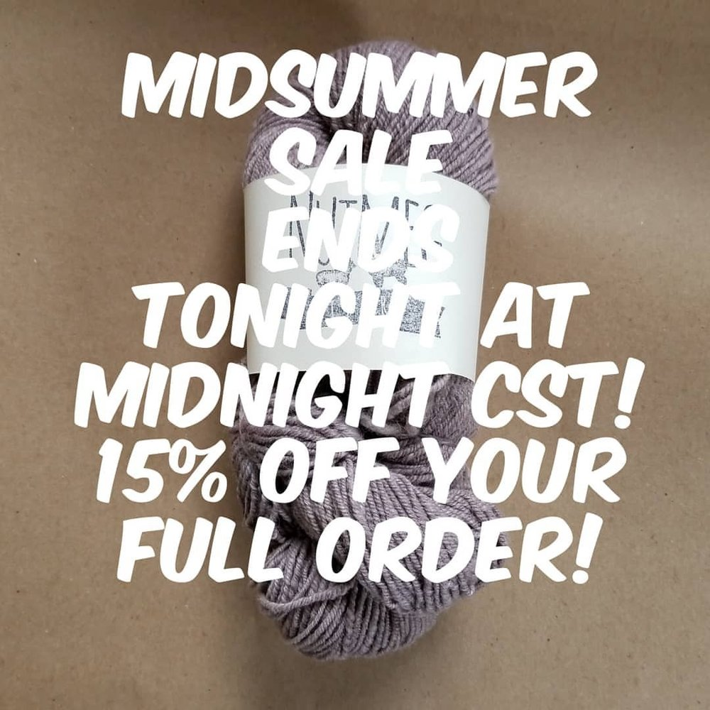 You guys response to our sale has been amazing!!! There's still today left, until 11:59pm CST!! All items 15% off, no code needed.  Discount given automatically at checkout!!! #nfsummer2018 #community #fiberfolk #knittersofinstagram  (at Nutmeg)