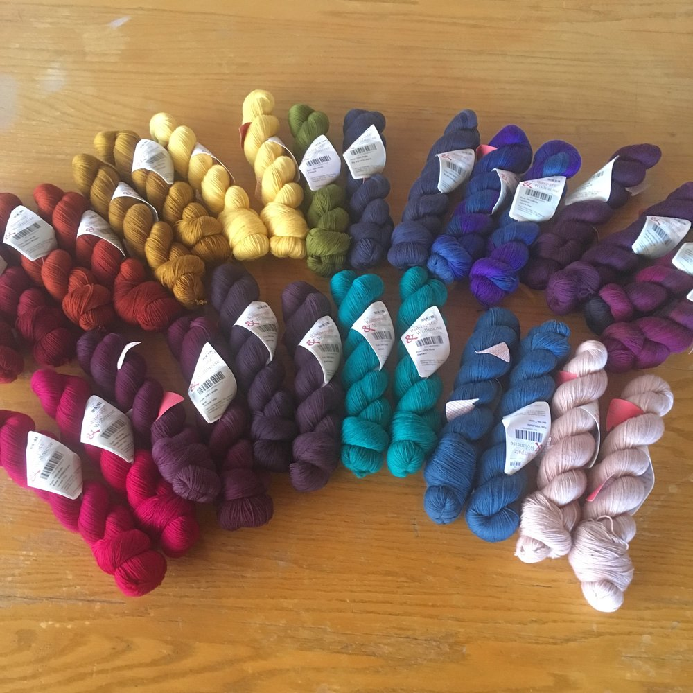 Wollmeise JUST in... - Some of these have already gone home with their new friends. Rich, saturated color, and these solid skeins contain LOTS of yardage--at 150g, they are 575 yards each.