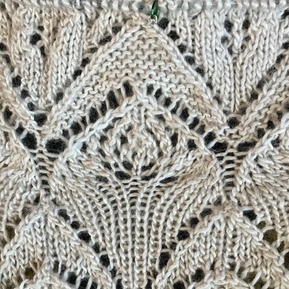 Through the Loops MKAL - Here's a detail of  Clue 5 of the Through the Loops Mystery Shawl 2018;  more progress on my Ravelry project page for this project.