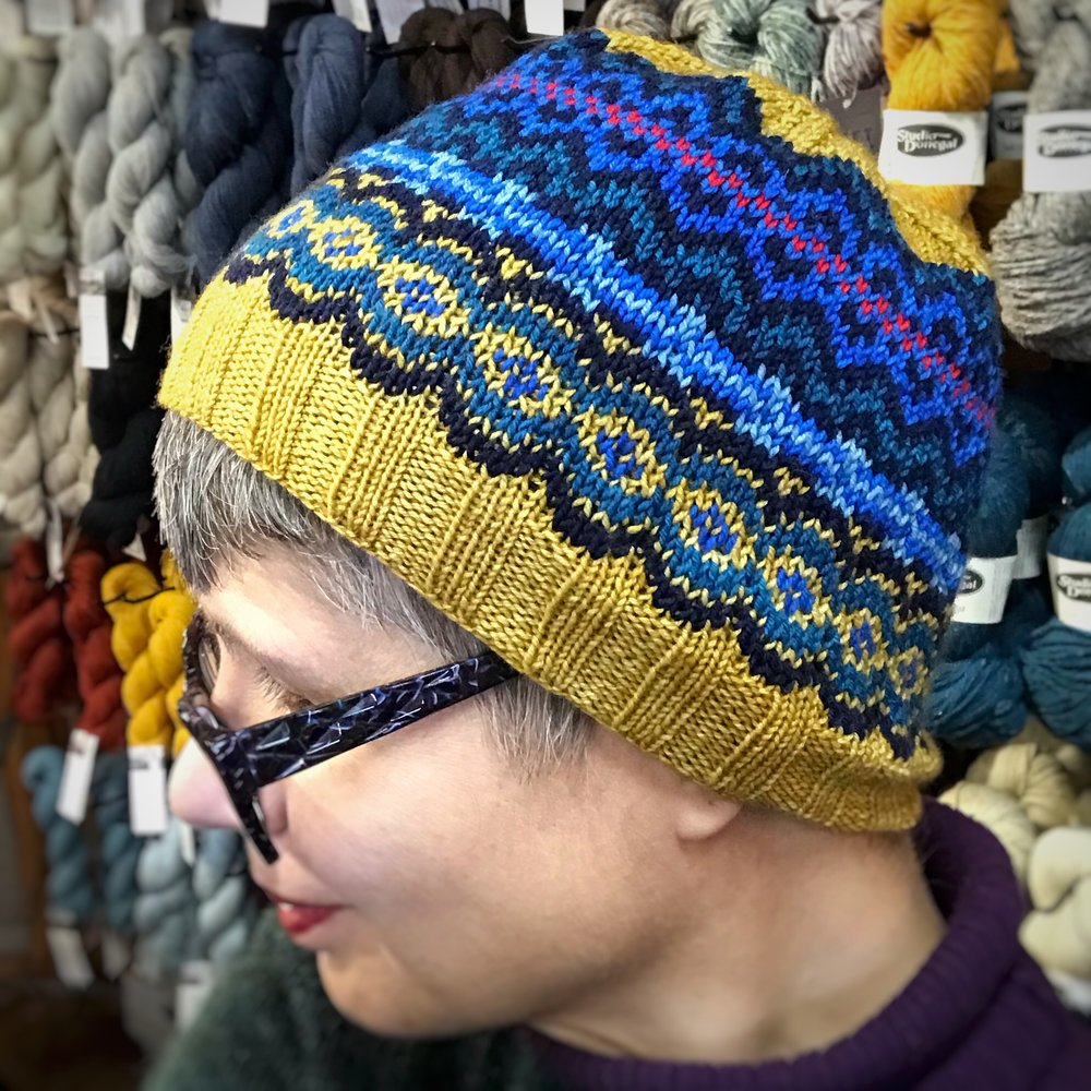 Anthology Hat - I finished the hat I was knitting with the Anthology KAL group. Initially, I wasn't crazy about the section with the lightest blue, but it's grown on me a little. In any case, it's a testament to how much fun it is to mix and match motifs!
