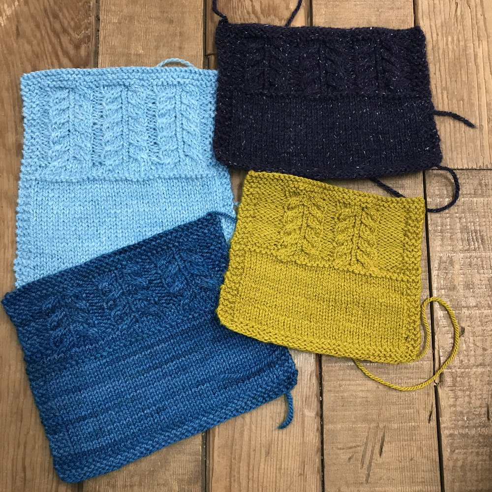 Clockwise from lower left: Knitted Wit Polwarth Shimmer, Plymouth Galway Sport, HiKoo Kenzie, Elemental Affect Cormo Sport