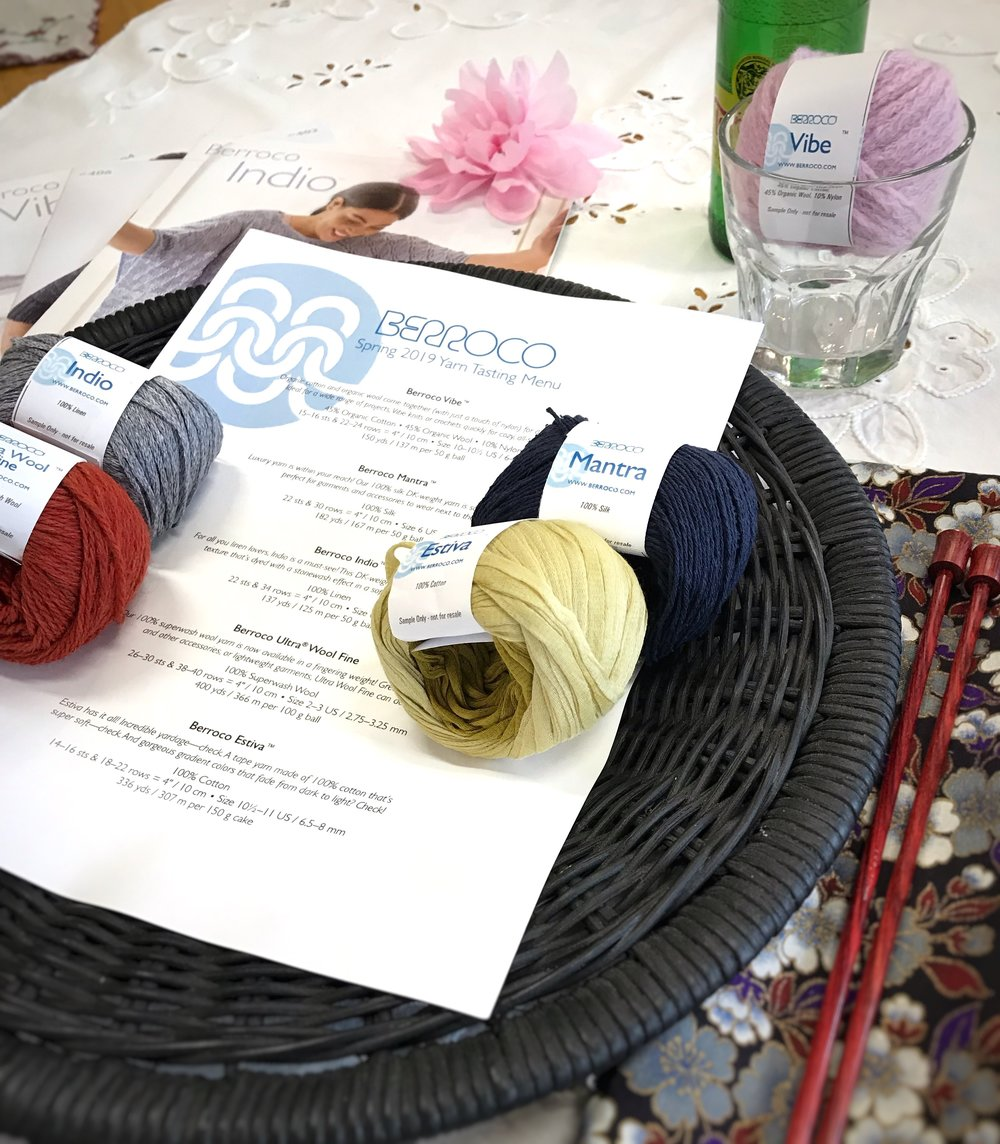 CURRENT CLASSES & EVENTS - Two Color Brioche: Rainbrioche [in progress]February 20, 27, & March 6, 5:00pm-7:00pm   $30 + materialsUsing the Rainbrioche pattern, learn to knit two color brioche in the round, including brioche decreases for the crown shaping, and a fun section that uses slipped stitches to add interest to the design.Prerequisites: While you do not need previous experience with brioche, this class requires you to be comfortable with basic knit stitches, and understand how stitches are typically mounted on the needle.Nalya/Planina CAL/KAL [join in any time]March 1, 8, 15, 22, 5:00pm-7:00pm   materials onlyThis -along has a crochet and a knit option, and lots of potential design choices! Use two contrasting colors, combine a main color with minis (Knitted Wit Smarties are perfect here!), or combine any of the above with leftovers from your stash! Preview the Nalya Wrap here or Planina here.Berroco Spring Yarn Tasting [5 places remaining]March 13, 5:00pm-7:00pm   $10 (limit 14)Sample five of the yarns Berroco is introducing for Spring, peruse the pattern books for inspiration, and weigh in on what you love best! You'll get a 20g sample of each yarn to test-knit, refreshments, and a chance to win a project kit from Berroco. Bring your needles, and let's have a yarn party!Project CircleMarch 29, 5:00pm-7:00pm   no chargeJoin us to work on your longer term projects.Cable Channel Pillow MKALApril 5, 12, 19, 26, 5:00pm-7:00pm   materials onlyHere's what Michelle Hunter of Knit Purl Hunter has to say about her April knitalong: