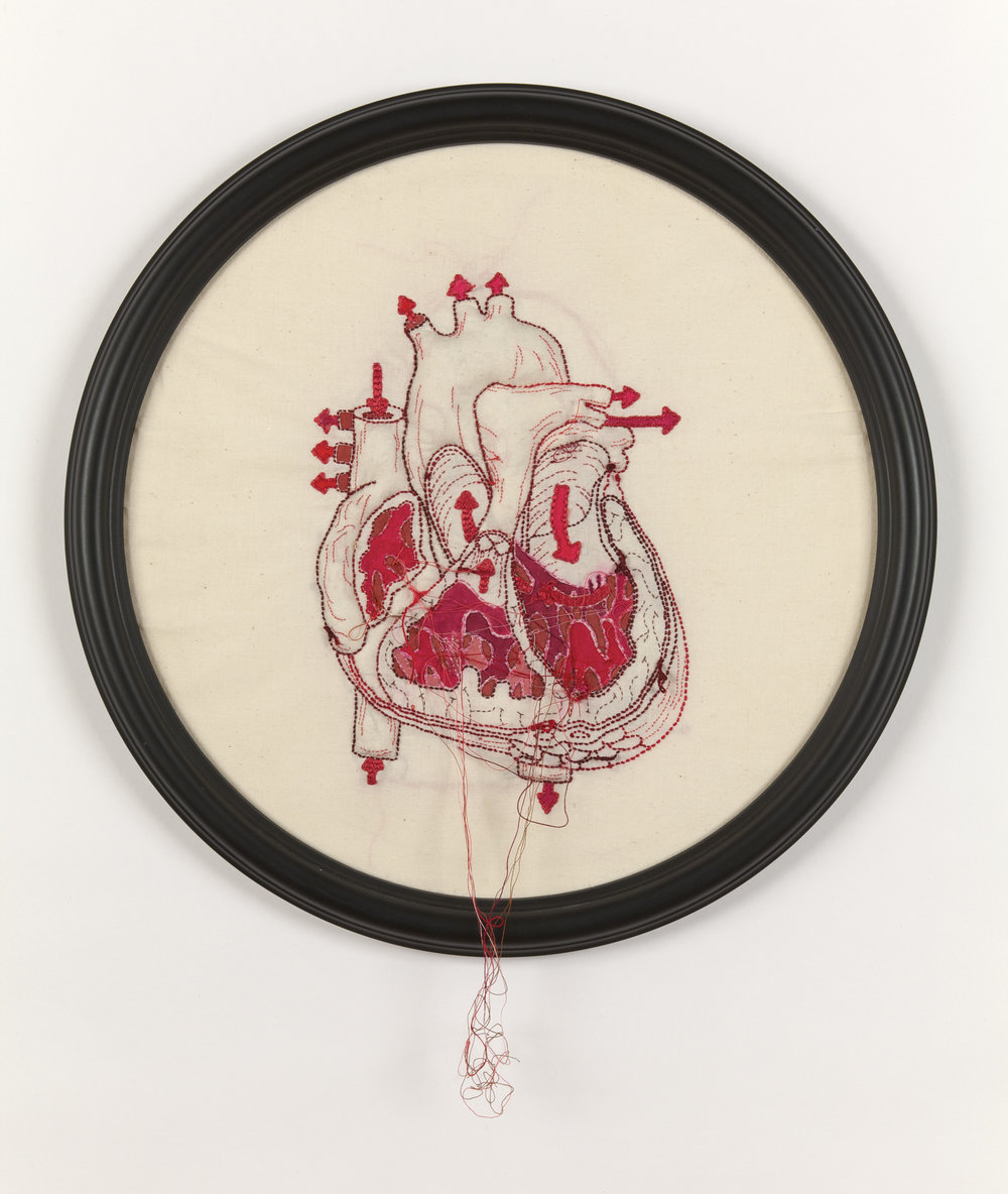 "Megan Canning,  Cor , 2012. Hand-embroidered cotton with acrylic on cotton. 14 1/4"" diameter. Private collection."