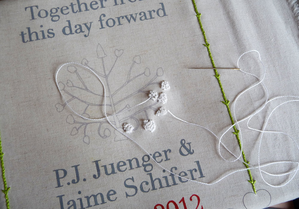 Modern Roots: PJ & Jaime - PJ & Jaime's embroidered heirloom is an original design rooted in folk art tradition, with a modern touch.