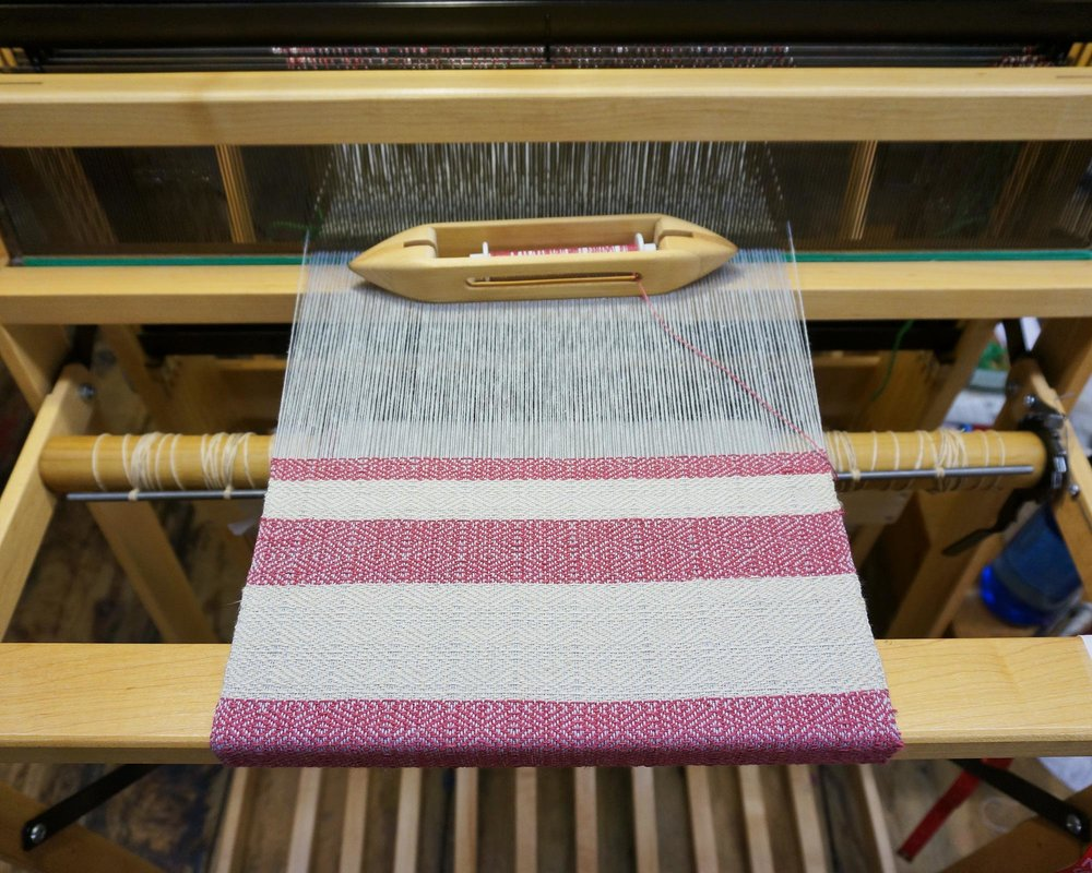A twill scarf in progress on my  loom