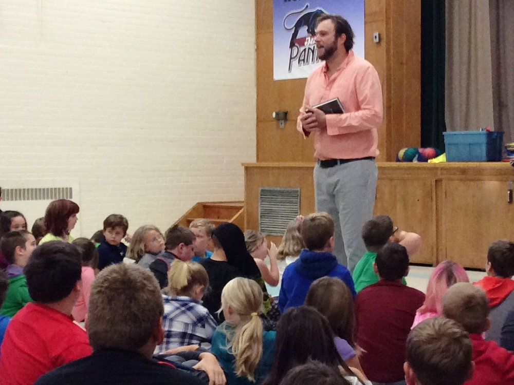 Wesley King speaks to students at Queen Elizabeth School in Picton, October 2017