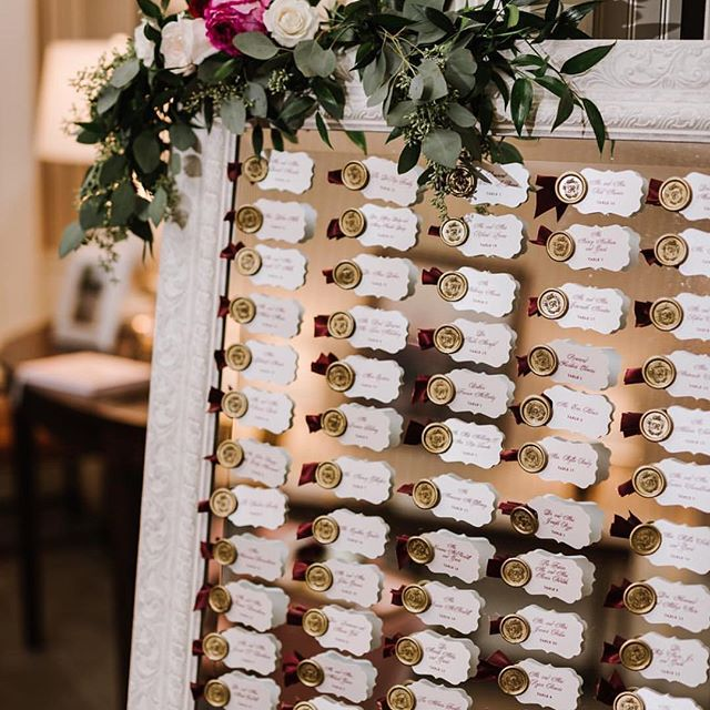 Giving some love to the finishing touches! This escort card display from @cristenandcoevents  was so dreamy and such a great way to use the wax seal stamper we used for the invitation suite! 📷 @annmarie_swift