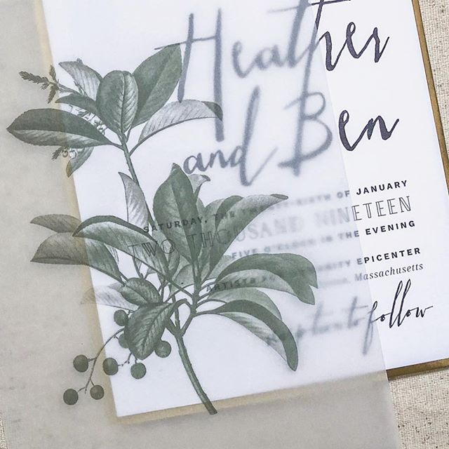 I loved working with Heather and Ben on this suite! Vellum overlays and metallic backings have my heart always! Congrats on your wedding this past weekend!