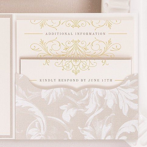 Pocketfolds are the best for holding all of those pretty little cards for the extra info needed for your guests. I love when a design carries over to all of the cards and creates a little piece of art at the same time!
