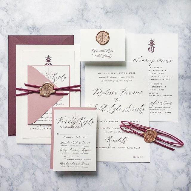 This was definitely on my favorite list from last year. A large oversized invite on double thick stock, wax seal and a luscious velvet ribbon and the cutest little pineapple monogram! 😍 . . #Wedding #weddinginspiration #invitation #invites #weddinginvitation #weddingplanning #weddingdetails #weddingideas #luxe #custom #couture #bespokewedding #bridetobe #style #bespoke #love #beauty #bride #engaged #justengaged #luxurywedding #stationery #calledtobecreative #weddingstationery #dailydoseofpaper #thatsdarling  #thedailywedding #communityovercompetition #boston #bostonwedding
