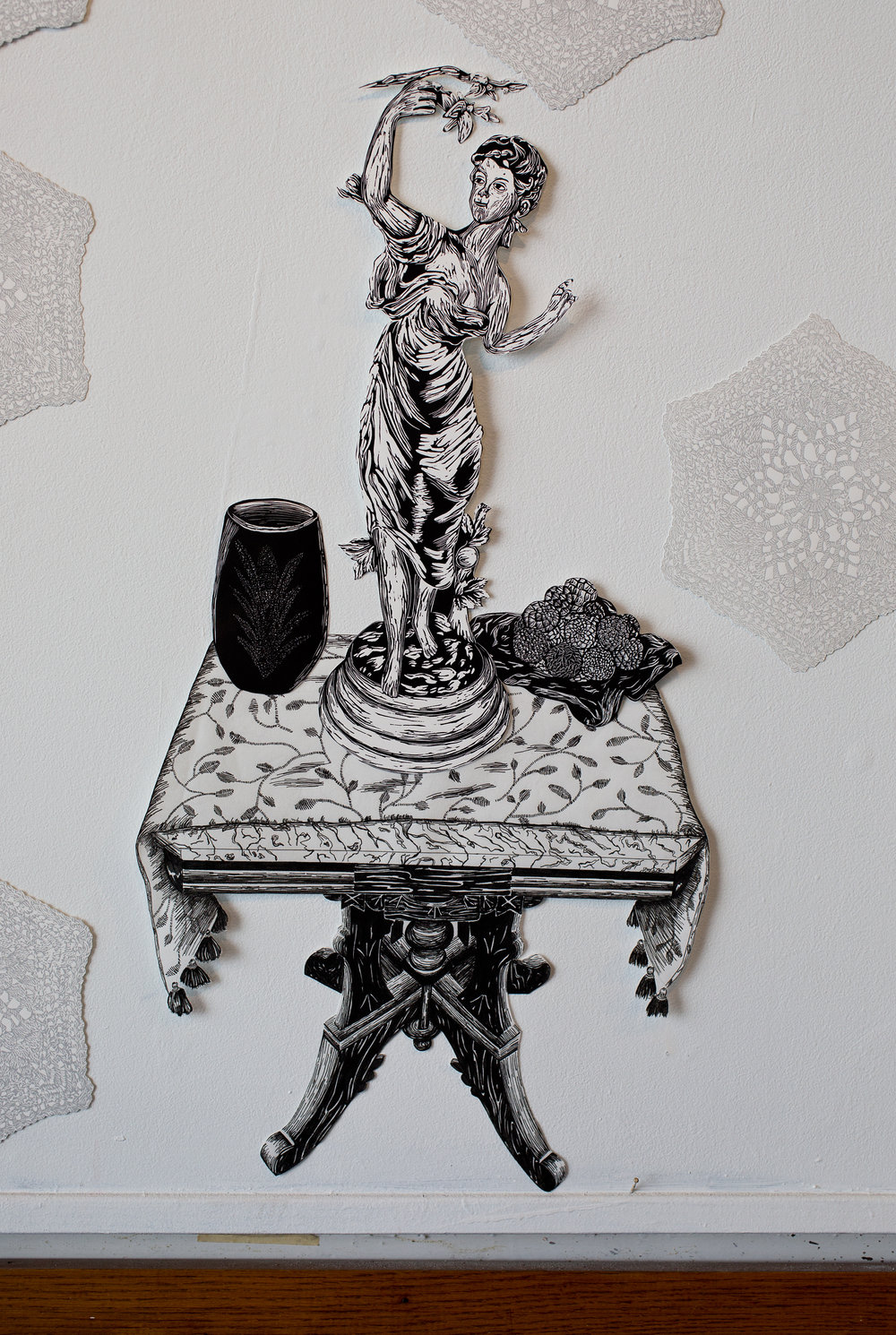 """""""Wooden Spring Table"""", table is pen drawing, objects are linoleum relief, 16x28. Each piece is hand cut out with Xacto."""