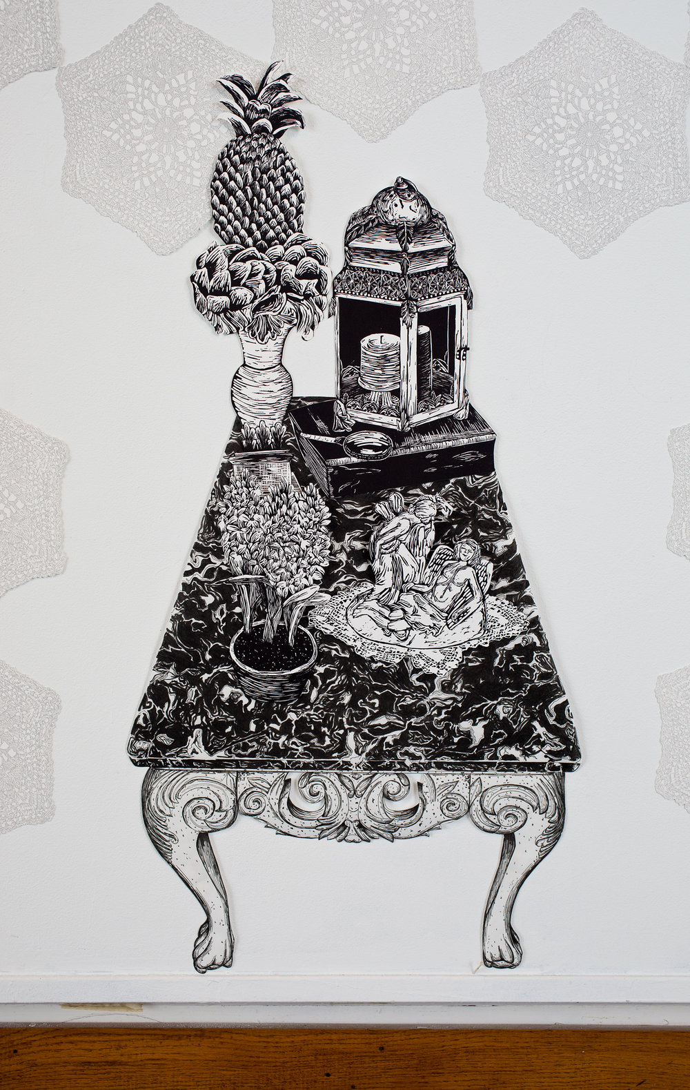 """""""Table of Antiques"""", table is pen drawing, objects are linoleum relief, 18 1/2x36. Each piece is hand cut out with Xacto."""