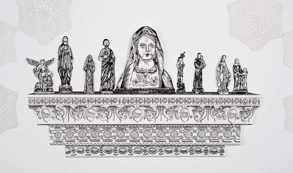 """""""Bedroom Alter"""", shelf is pen drawing, figurines are linoleum relief, 20x36. Each piece is hand cut out with Xacto."""