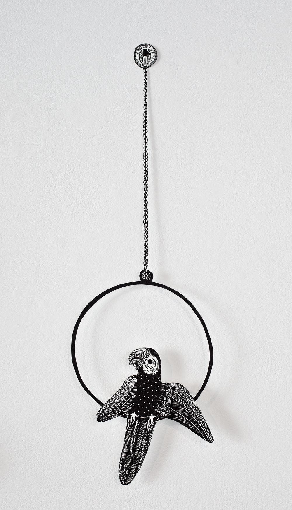 """Parent's Bohemian Honeymoon Parrot"", linoleum relief hand cut out with Xacto, 7 1/2x24"