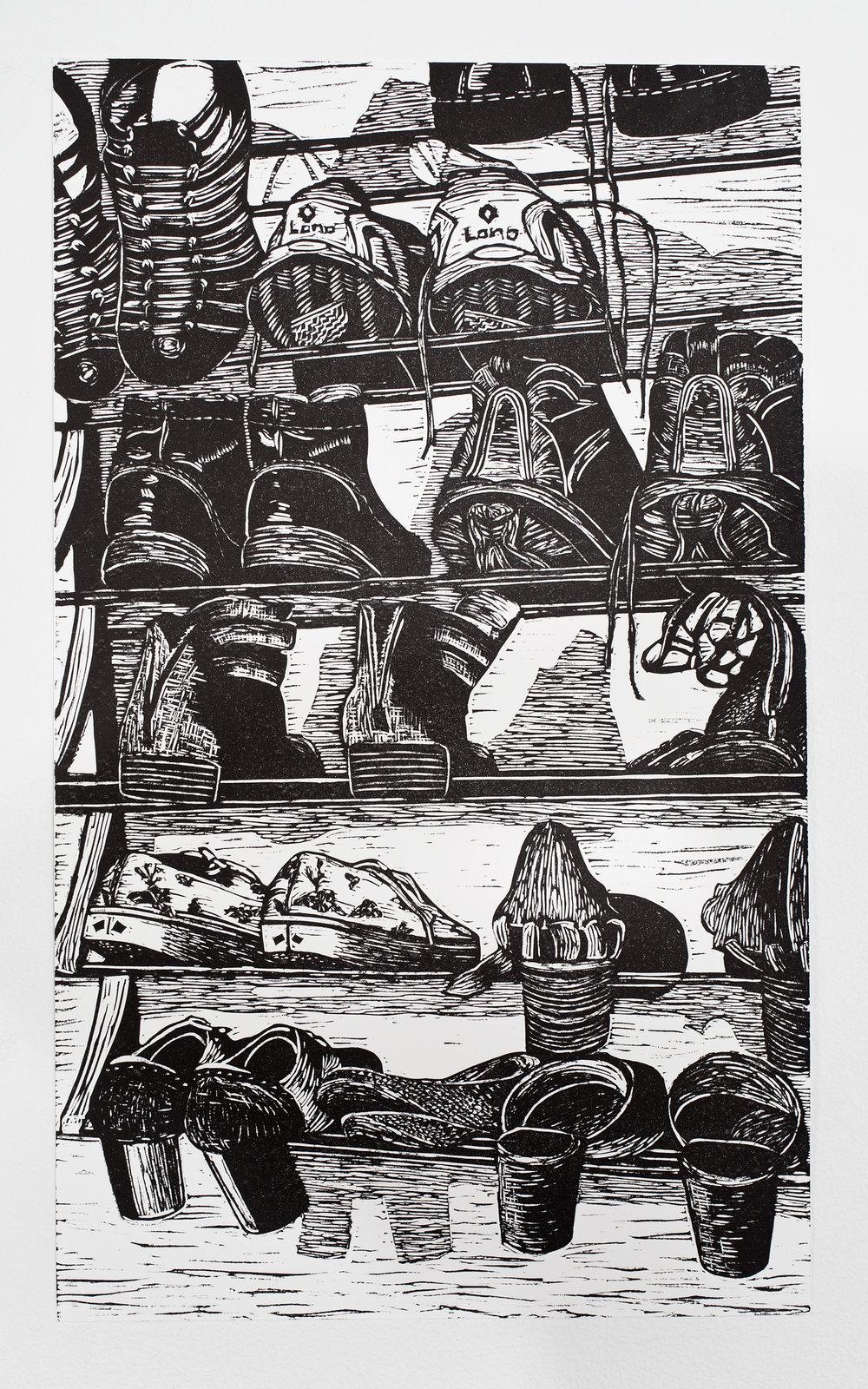 """""""Shoe Cascade"""", linoleum relief, 11x 18 1/2"""