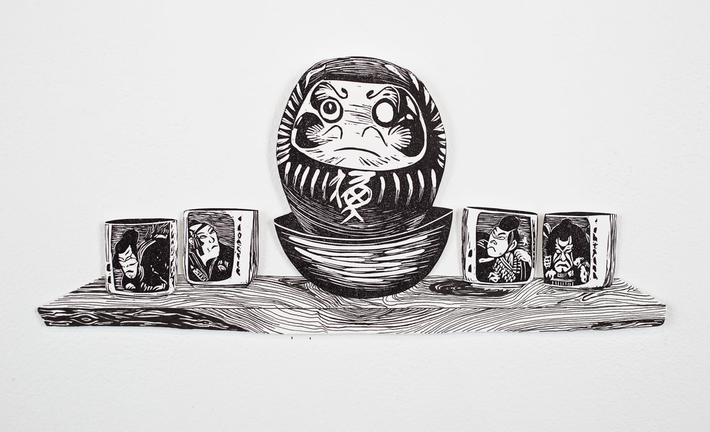 """""""Daruma Doll and Sake Cups on Shelf"""", shelf is pen drawing, objects are linoleum relief, 6x8. Each piece is hand cut out with Xacto."""