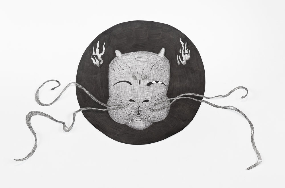 """""""Cat Head"""", pen drawing copy of work of art by Kelly Stombaugh, 24x30."""