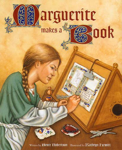 Marguerite Makes a Book - Bruce Robertson, illustrated by Kathryn HewittJ. Paul Getty Trust Publications 1999It is Paris in the 1400's. A young girl named Marguerite assists her father in his craft: illuminating manuscripts for the nobility of France. Books were scarce and highly treasured in medieval Europe and were created using organic materials: sheepskin, minerals, dried plants, goose feathers, eggs, and gold leaf. The art and craft of creating a book by hand is cleverly explored in this story that