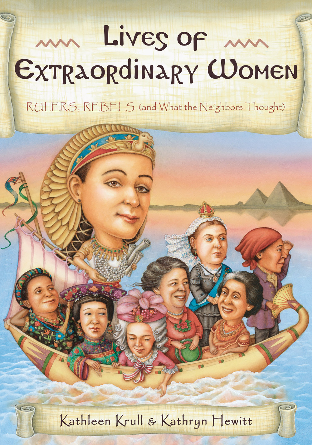 Lives of Extraordinary Women: Rulers, Rebels (and What the Neighbors Thought) - Kathleen Krull, illustrated by Kathryn Hewitt       Houghton Mifflin Harcourt 2013Not all governments have been run by men. Lives of Extraordinary Women turns the spotlight on women who have wielded power, revealing their feats--and flaws--for all the world to see. Here you'll find twenty of the most influential women in history: queens, warriors, prime ministers, first ladies, revolutionary leaders. Some are revered. Others are notorious. What were they really like?In this grand addition to their highly praised series, Kathleen Krull and Kathryn Hewitt celebrate some of the world's most noteworthy women, ranging from the famous to those whose stories have rarely been told.
