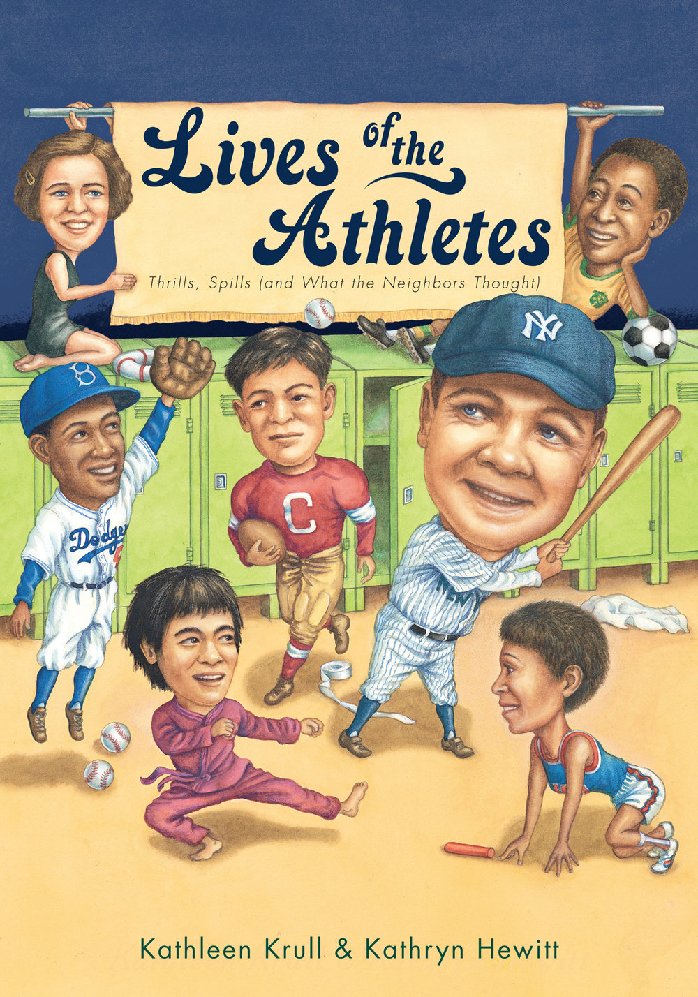 Lives of the Athletes: Thrills, Spills (and What the Neighbors Thought) - Kathleen Krull, illustrated by Kathryn Hewitt       Houghton Mifflin Harcourt 2013What is your favorite athlete's biggest fear? Strangest habit? Craziest quirk? And what did their neighbors have to say about them? Find out all you ever wanted to know about your favorite sports stars in Lives of the Athletes. Biographical information has never been this much fun to read!