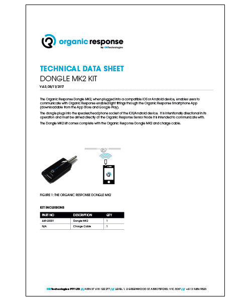 ORT Dongle MK2 Kit Technical Data Sheet v4.0