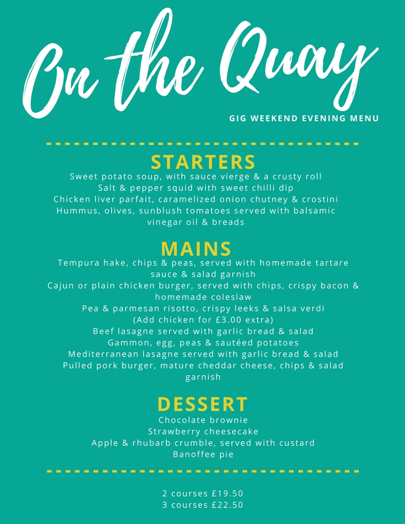 Gig Weekend Menu Launch & Booking Opening #onthequayios #wpgc2018 ...