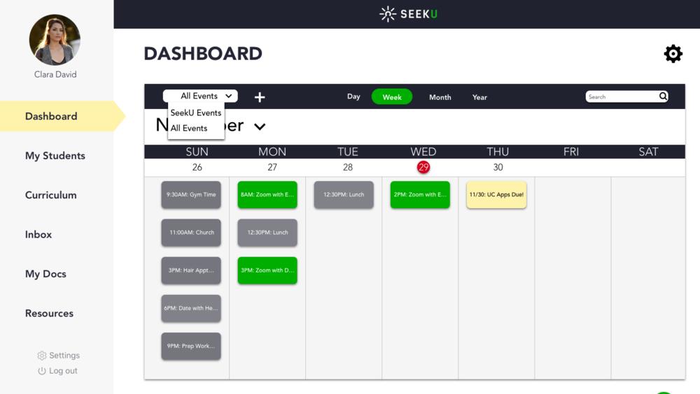 4.Medium_Educator Dashboard_All Events Week Calendar_Filter Drop Down.png