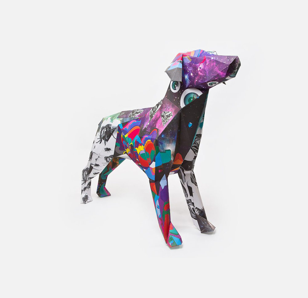 Gerald, paper dog sculpture