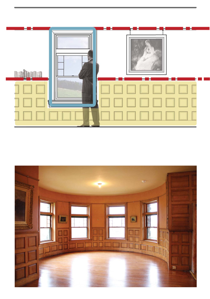Top: Diagram illustrating datum; Stonehurst, Waltham MA  |  Bottom: Image of 'datum' at Stonehurst in Waltham, MA.
