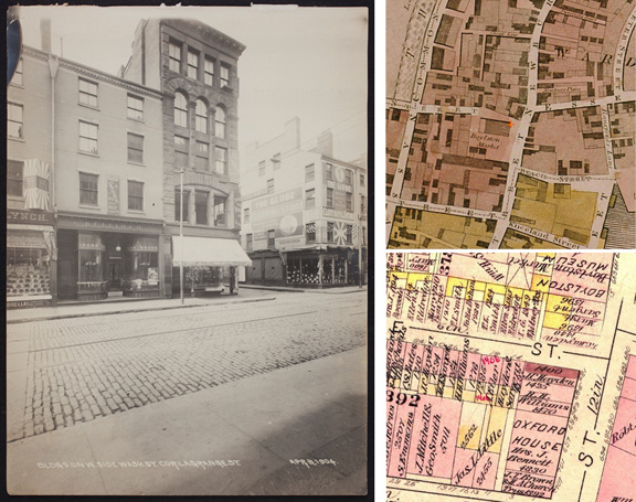 Left: Historical photo courtesy of Historic New England | Right: Historical Sanborn Map images