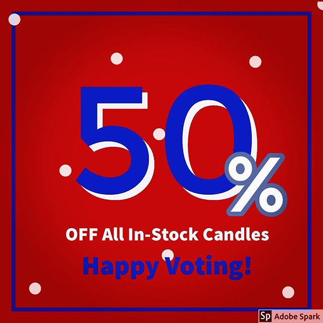 HAPPY MIDTERMS! 🇺🇸We're celebrating with our biggest sale EVER! ❤️💙❤️💙 50% OFF all in-stock candles! Get them while they last- many are one-of-a-kind and make perfect gifts! Now at WALLSWONDERS.COM . . . #midterms #votevotevote #handmadeintheusa #handmadeinsandiego #shopsmall #shoplocal #wallswonders #keepmewherethelightis #wwg1wga