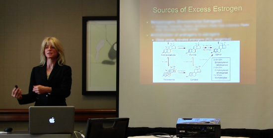 Dr. Roberts lecturing on bio-identical hormone replacement for fellow physicians' continuing education.