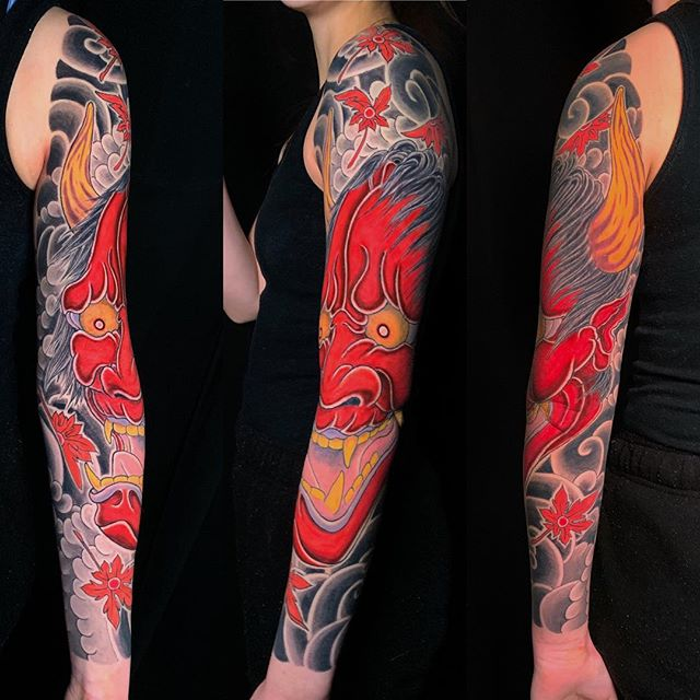 Hannya sleeve finished!😈 Thanks for tanking all your sittings and comin in from the US🇺🇸 📧info@strictlytattoo.ca☎️(604) 558-1128• • • • •#strictlytattooinc #irezumi #wabori #japaneseart #japanesetattoo #irezumicollective #traditionaltattoo #tattoo #ink #art #artist #tattooartist #customtattoo #vancouver #canada #vancity #vancitybuzz #yvr #hannyatattoo #hannyamasktattoo #japanesemaple #sleeve #fullsleeve #sleevetattoo #fullsleevetattoo #girlswithtattoos