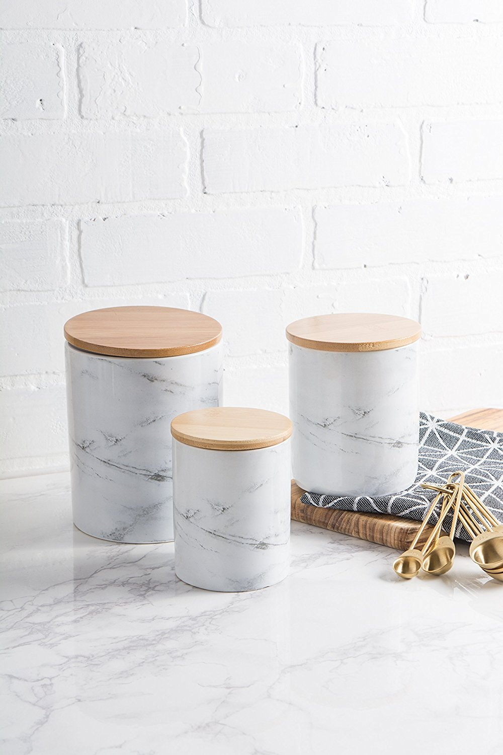 3 Piece Marble Kitchen Canister Set