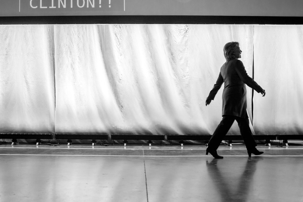 Hillary Clinton walks towards her podium to deliver a speech at the Fifth Annual Minnesota DFL Humphrey-Mondale Dinner fundraising event at the St. Paul RiverCentre on Friday, Feb. 12, 2016.