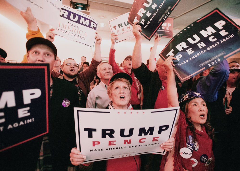Nancy Frank of Plymouth, center, cheers alongside other supporters of Donald Trump as they await the result of the presidential election at the Republican Party of Minnesota's Election Night party in the Radisson Blu hotel at the Mall of America on Tuesday, Nov. 8, 2016.