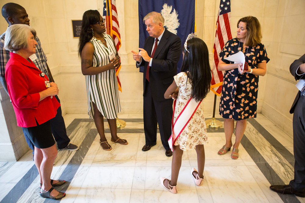 Tymia also stopped by the office of Sen. Lindsey Graham, a Republican from South Carolina, to express her opposition to any health care reform that would curb the Medicaid benefits she relies on. (Liam James Doyle/NPR)