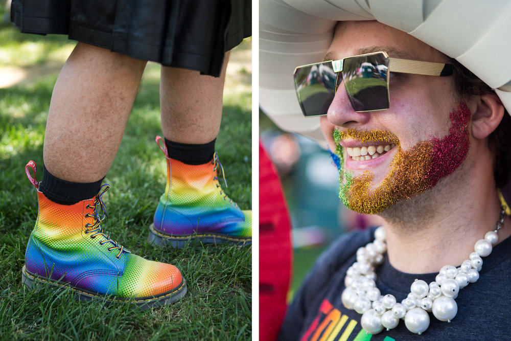 "An abundance of rainbow fashion could be seen during the Equality March in Washington D.C. on Sunday, June 11. 28-year-old Tyler Cargill, right, showed off a glittering beard, while 50-year-old Charles Heath, left, sported a vibrant pair of boots. ""We don't believe in the President, but we believe in the country; that's why we're here"" Heath expressed. (Photo: Liam James Doyle/NPR)"