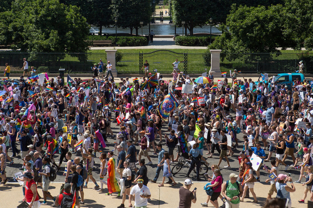 Thousands of demonstrators walk together on Constitution Ave. NE towards the United States Capitol building in Washington D.C. as a part of the Equality March on Sunday, June 11. (Photo: Liam James Doyle/NPR)