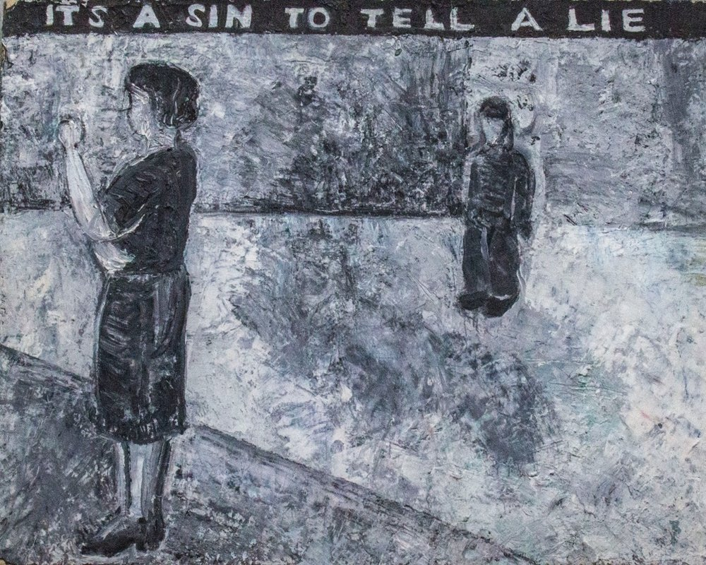 Jenny Snider,  It's a Sin to Tell a Lie,  1985, oil on paper mounted on canvas, 14h x 18w in.
