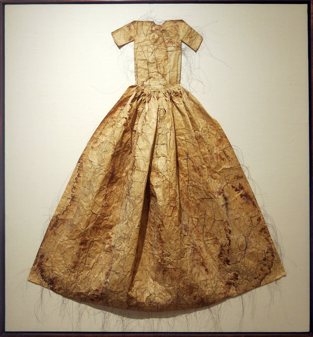Lesly Dill,  Poem Hair Dress,  1993, horse hair, tea, rice paper, 48h x 45w x 5d in.